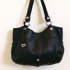 Large black Brighton leather shoulder bag